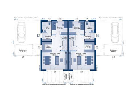 HARTL Haus Typenhaus Doppelhaus 120 W Grundriss EG