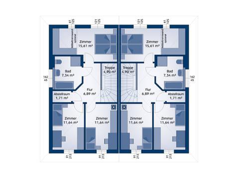 HARTL Haus Typenhaus Doppelhaus 120 W Grundriss OG