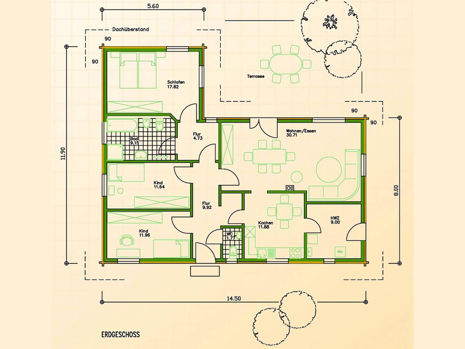 Blockhaus SB70-137 Grundriss Erdgeschoss