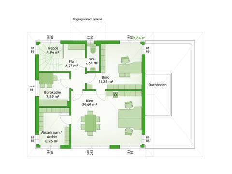 HARTL Haus Typenhaus Comfort 190 W Grundriss OG - Büro