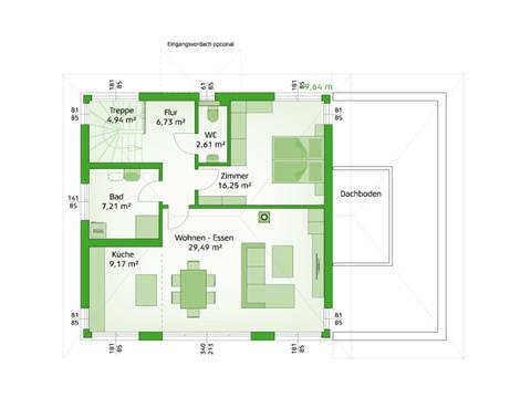 HARTL Haus Typenhaus Comfort 190 W Grundriss OG - Einliegerwohnung