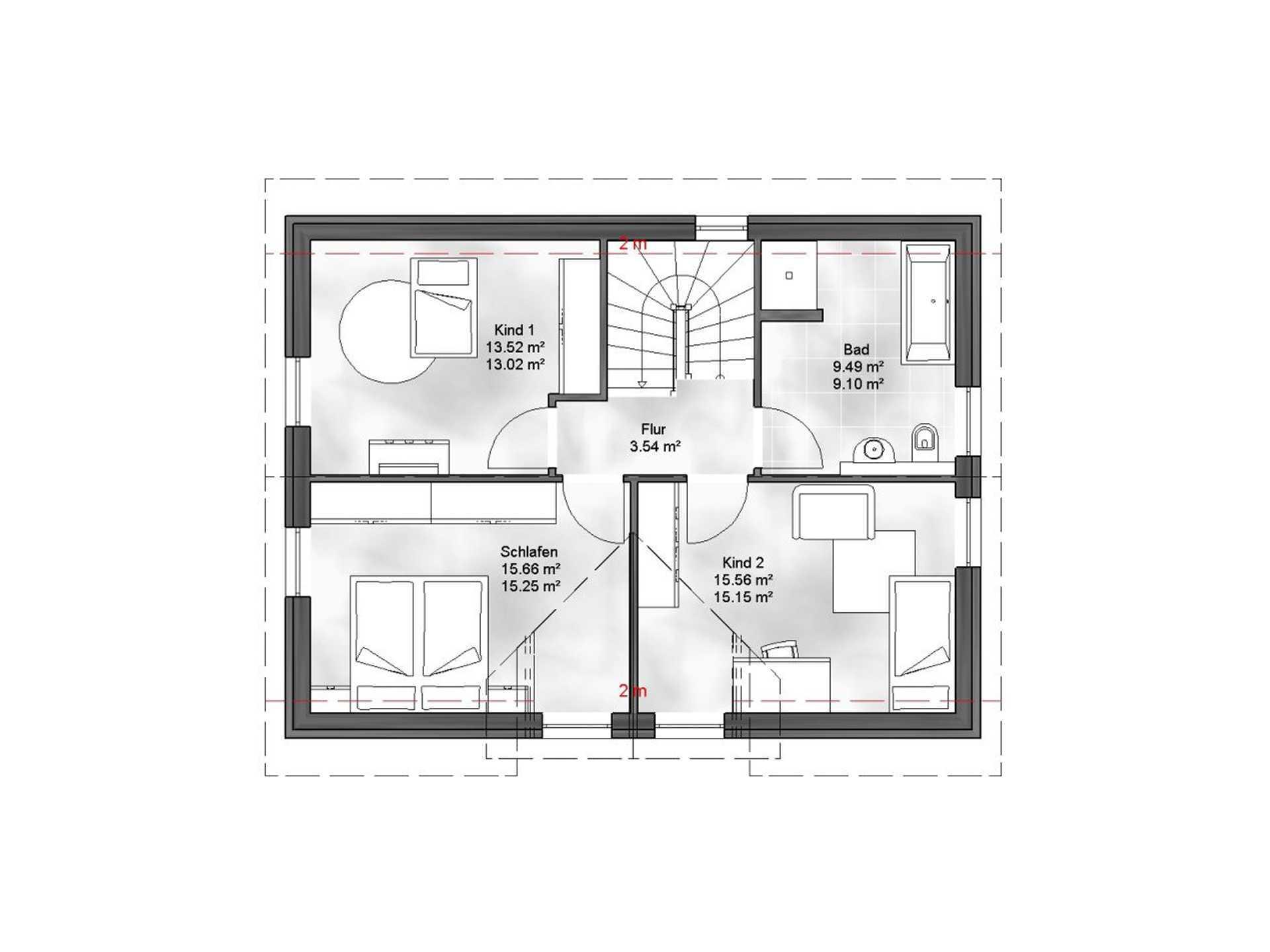 Massive Wohnbau Einfamilienhaus Vanessa Grundriss DG