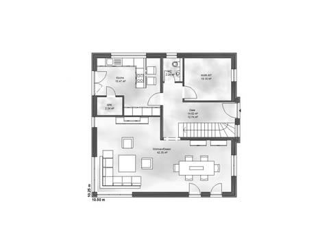Massive Wohnbau Stadtvilla 2 Grundriss EG