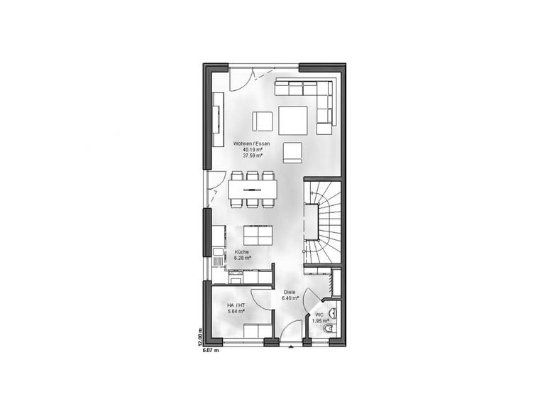 Massive Wohnbau Doppelhaus 6 Grundriss DG
