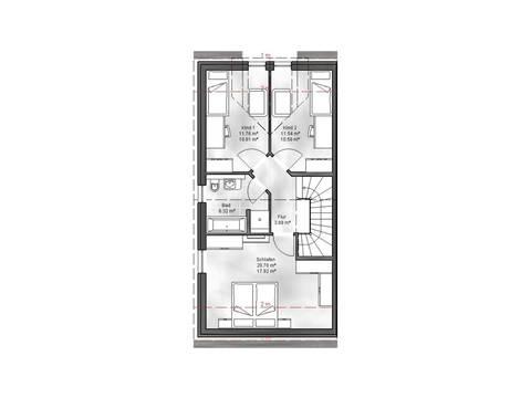 Massive Wohnbau Doppelhaus 6 Grundriss EG