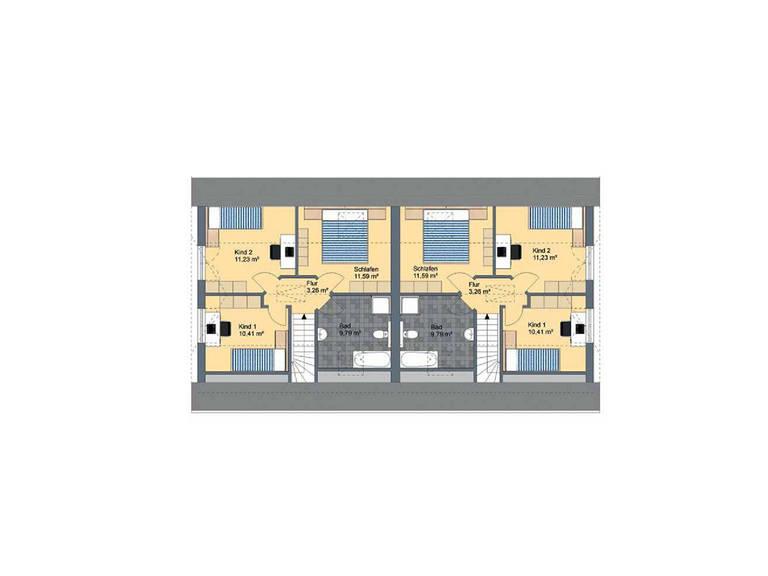 Virtus Projektbau Doppelhaus V125 Grundriss DG