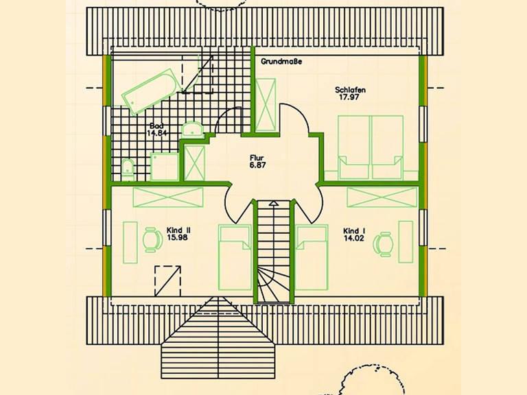 Blockhaus SB70-85 Grundriss Dachgeschoss