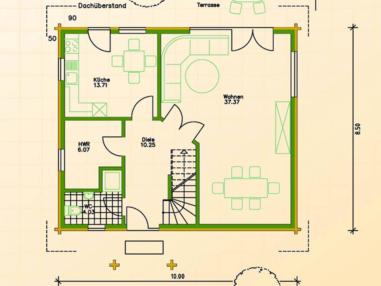 Blockhaus SB70-85 Grundriss Erdgeschoss