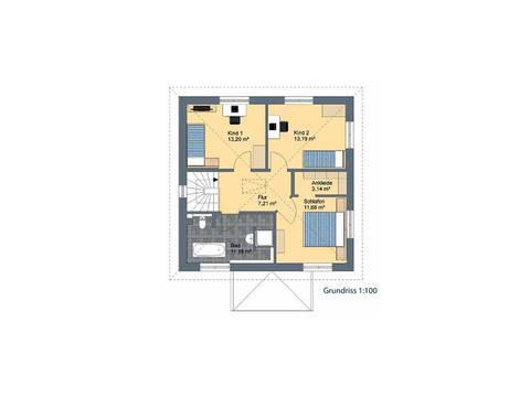 Virtus Projektbau Stadtvilla V130 Grundriss DG