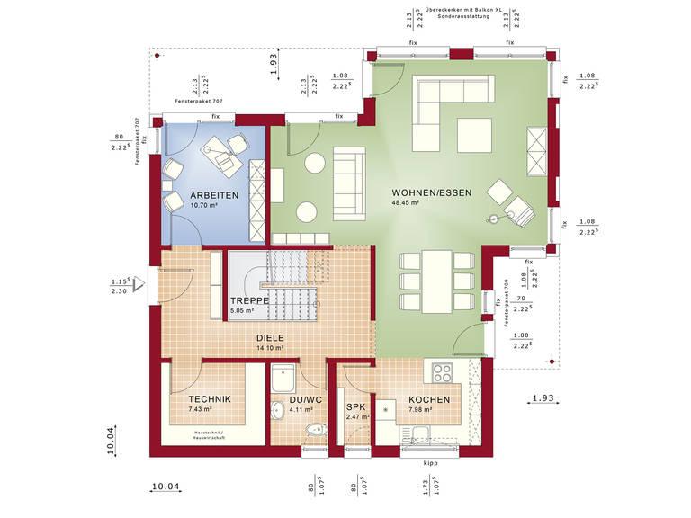 Fantastic 161 V6 – Einfamilienhaus Grundriss EG