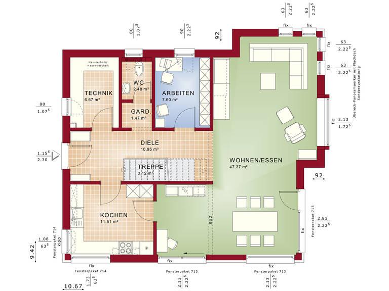 Fantastic 162 V2 – Einfamilienhaus Grundriss EG