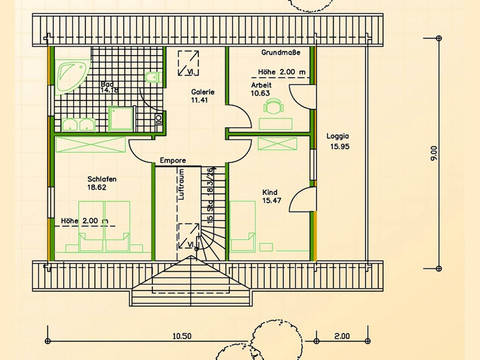 Blockhaus SB70-94 Grundriss Dachgeschoss