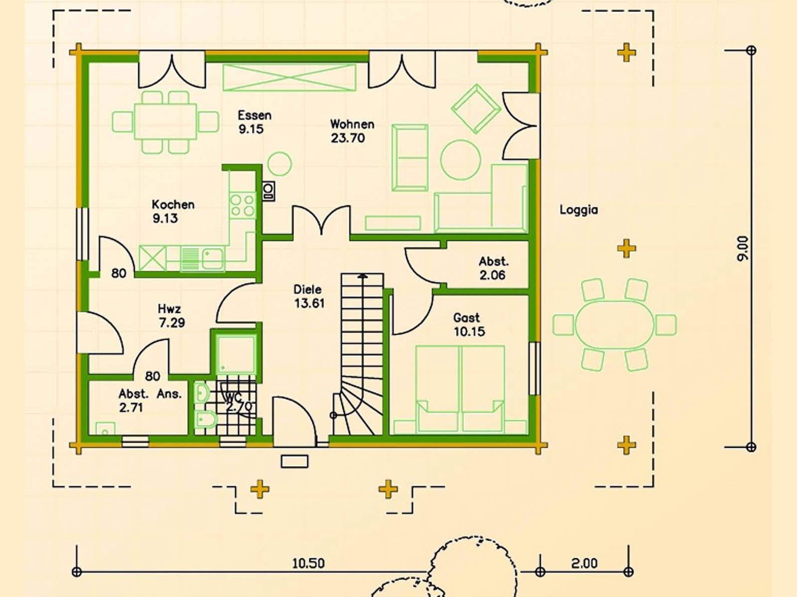 Blockhaus SB70-94 Grundriss Erdgeschoss