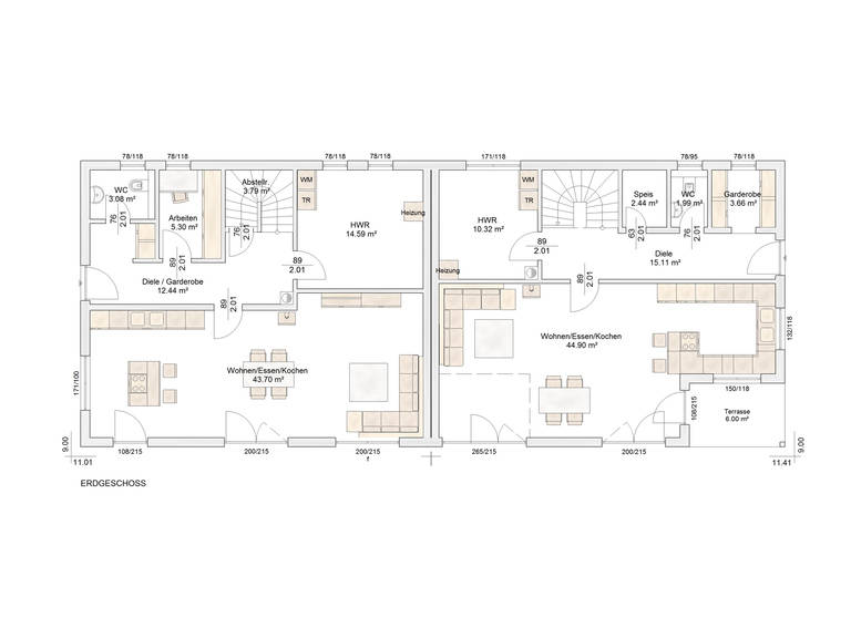 Doppelhaus Auen Grundriss EG