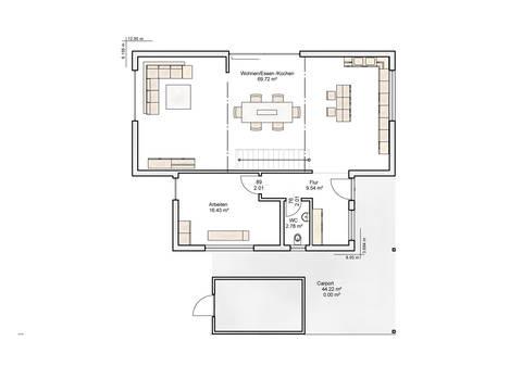 Einfamilienhaus im Bauhausstil Grundriss EG