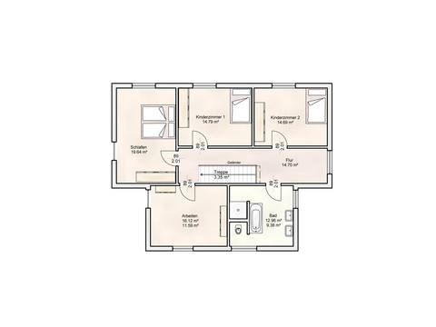 Einfamilienhaus im Bauhausstil Grundriss OG
