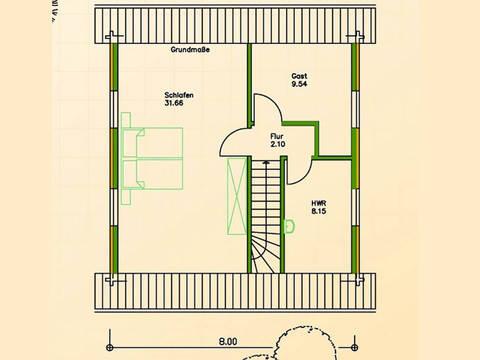 Blockhaus SB70-65 Grundriss Dachgeschoss