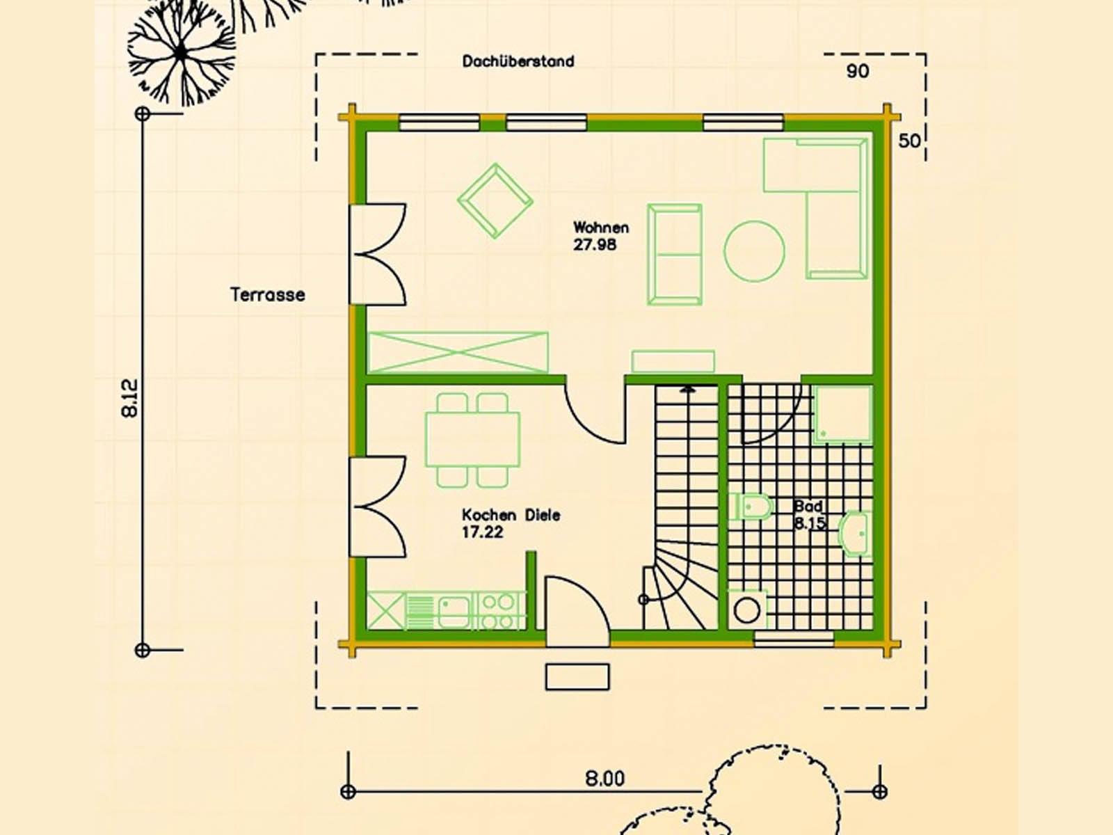 Blockhaus SB70-65 Grundriss Erdgeschoss