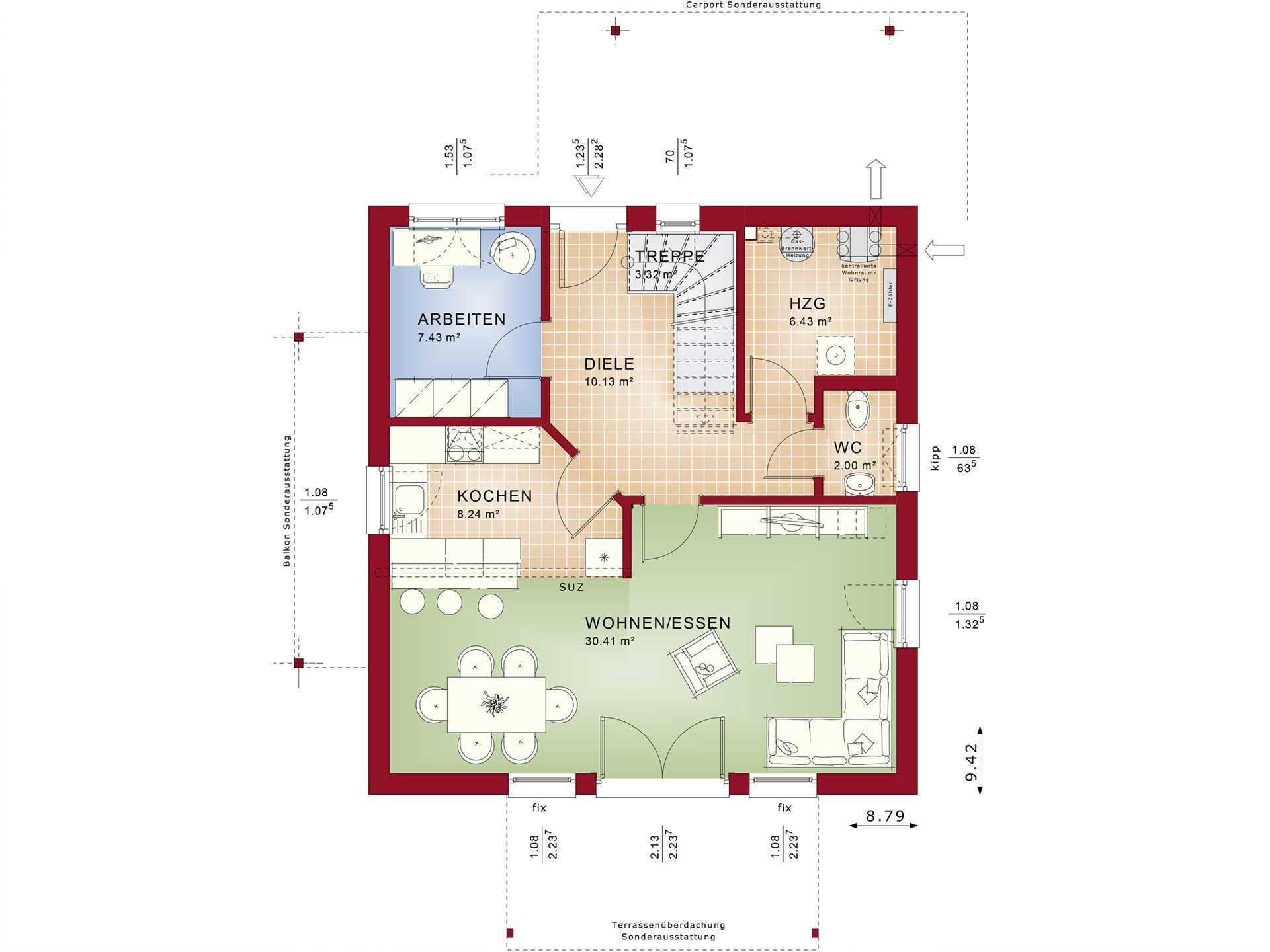Bien-Zenker Einfamilienhaus Celebration 134 V2 Grundriss EG
