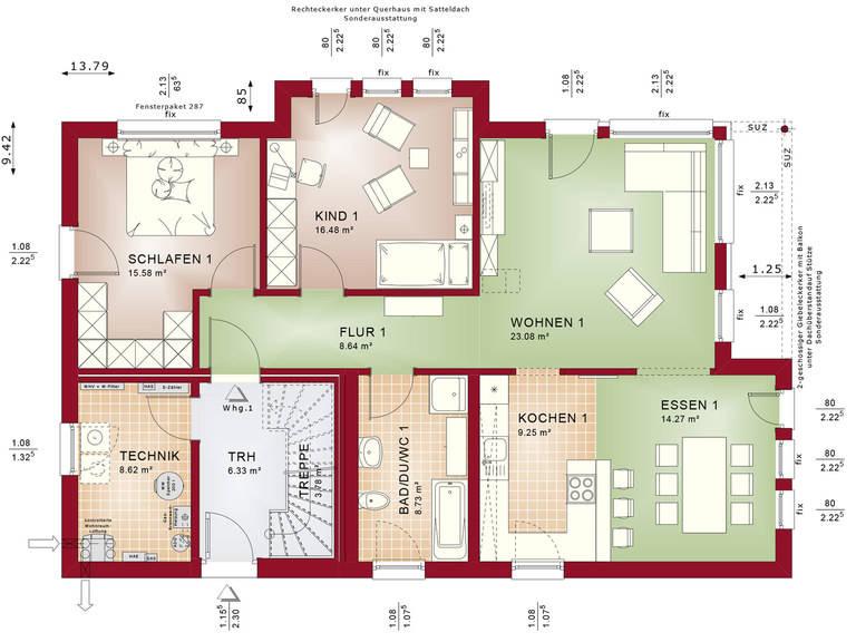 Bien-Zenker Zweifamilienhaus Celebration 211 V2 Grundriss EG