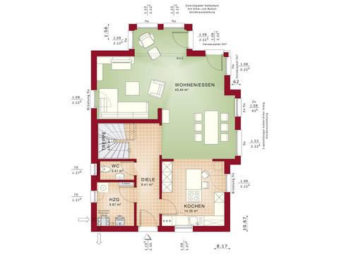 Bien-Zenker Einfamilienhaus Celebration 137 V11 Grundriss EG