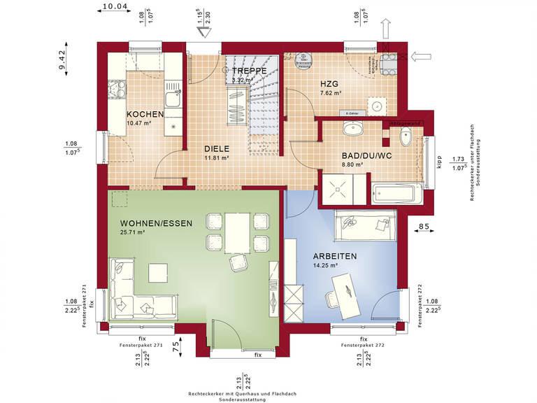 Bien-Zenker Einfamilienhaus Celebration 150 V4 Grundriss EG
