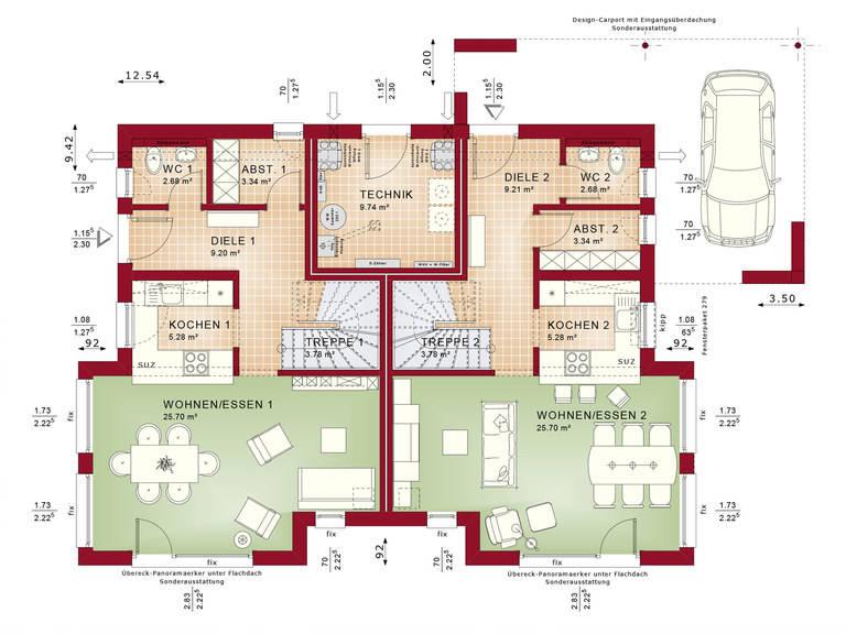 Bien-Zenker Zweifamilienhaus Celebration 192 V3 Grundriss EG