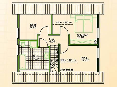 Fertighaus SF 68 Grundriss Dachgeschoss