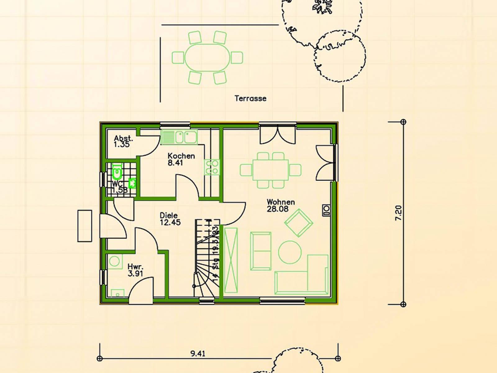 Fertighaus SF 68 Grundriss Erdgeschoss