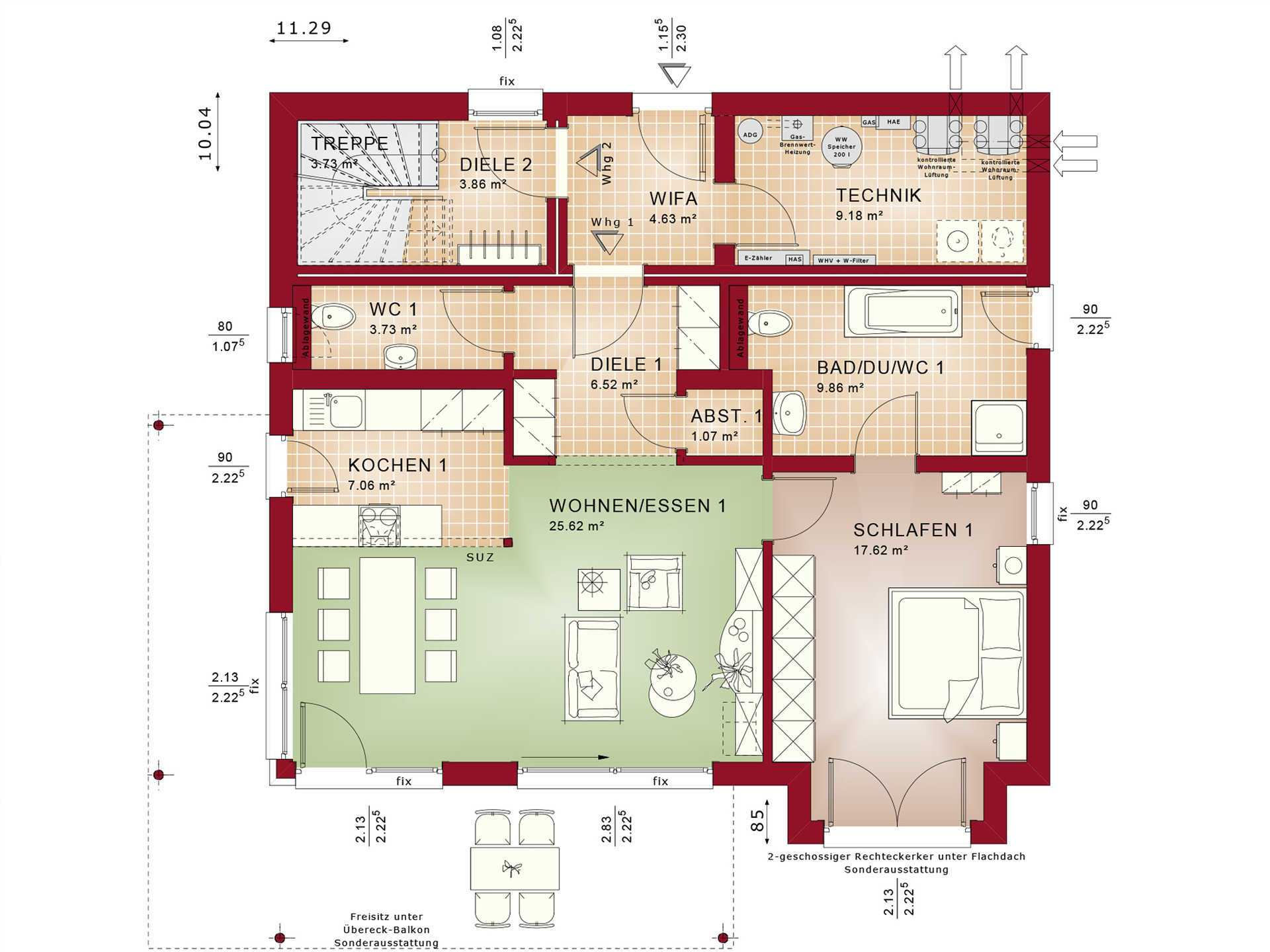 Mehrgenerationenhaus celebration 275 v3 bien zenker for Mehrfamilienhaus grundriss beispiele