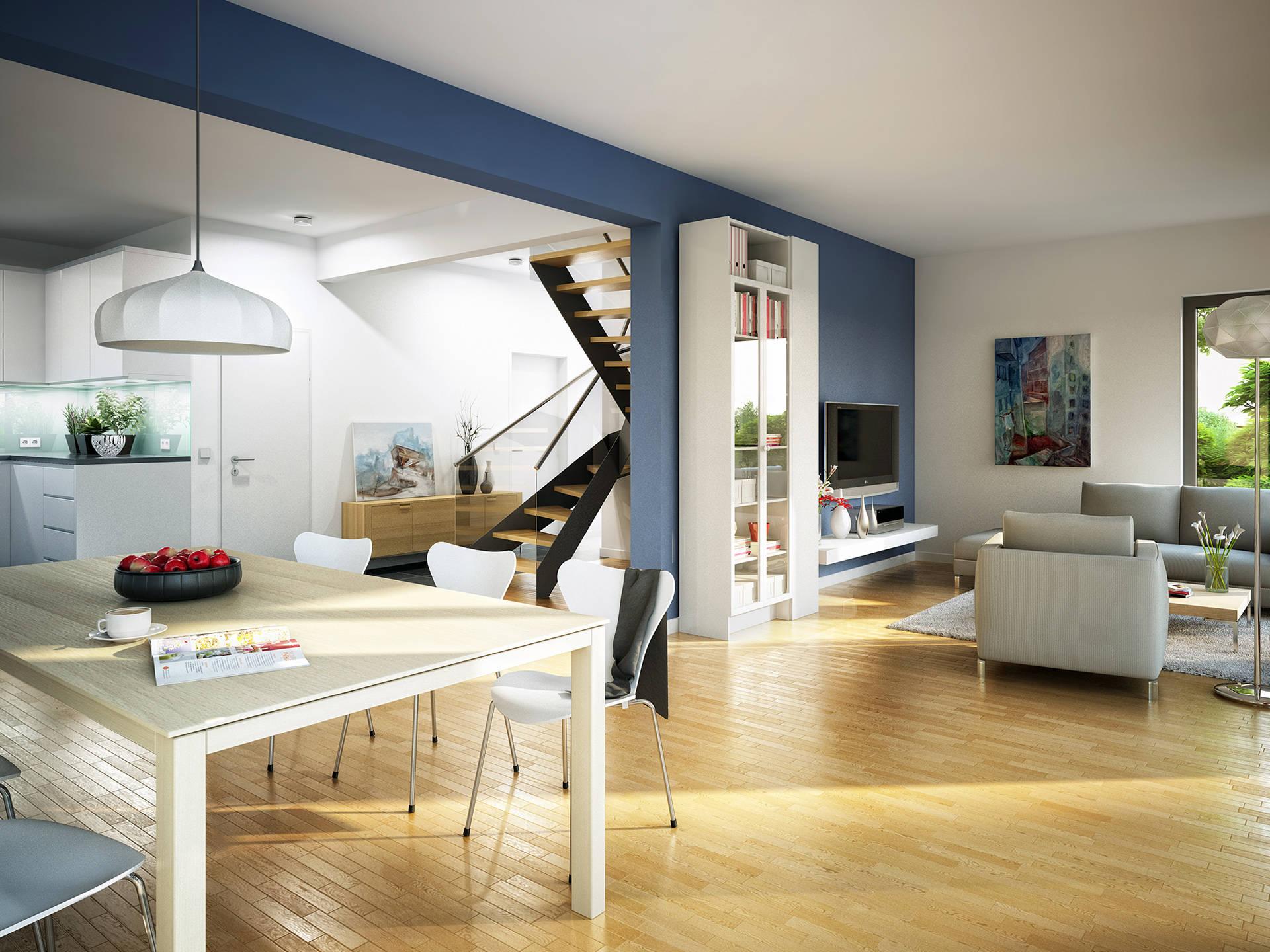 Deckenbeleuchtung wohnzimmer for Einfamilienhaus innenansicht