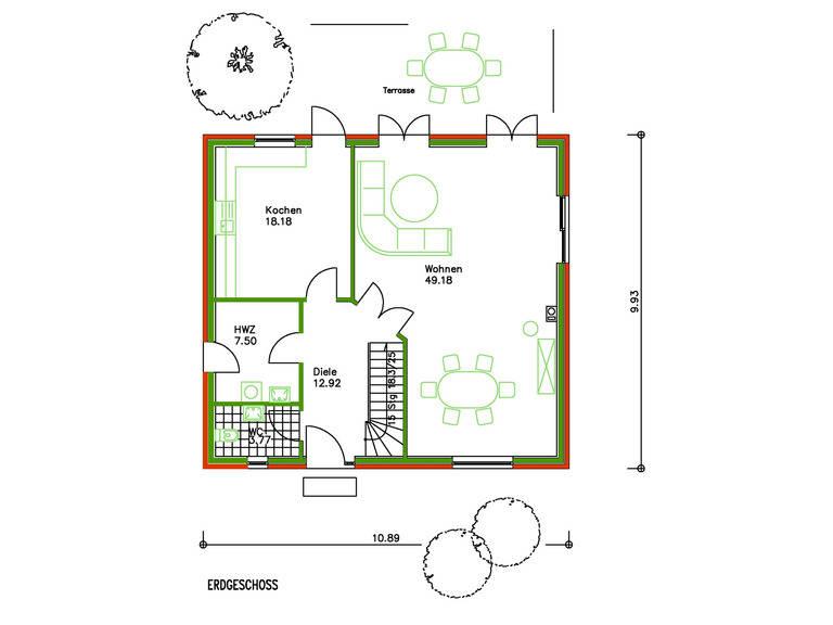 Schwesig Blockhaus Fertighaus SF 108 Grundriss EG