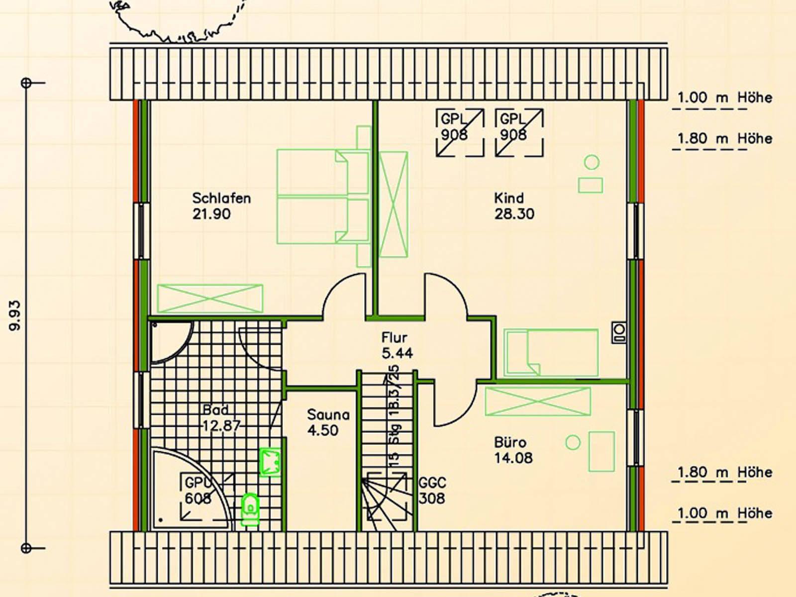 Schwesig Blockhaus Fertighaus SF 108 Grundriss OG