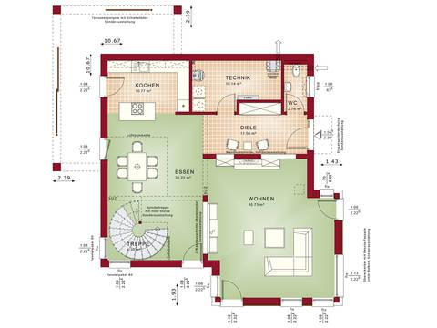 Grundriss EG Musterhaus CONCEPT-M 193 Potsdam