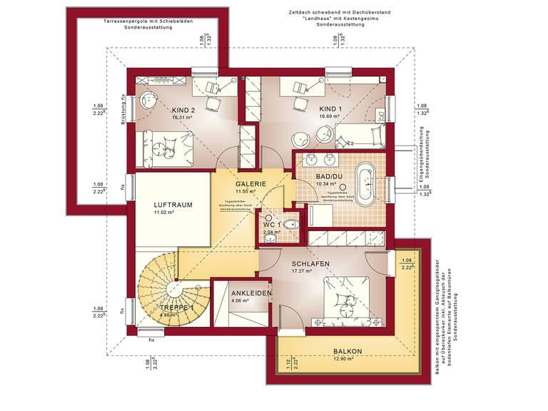 Grundriss OG Evolution Potsdam - Einfamilienhaus