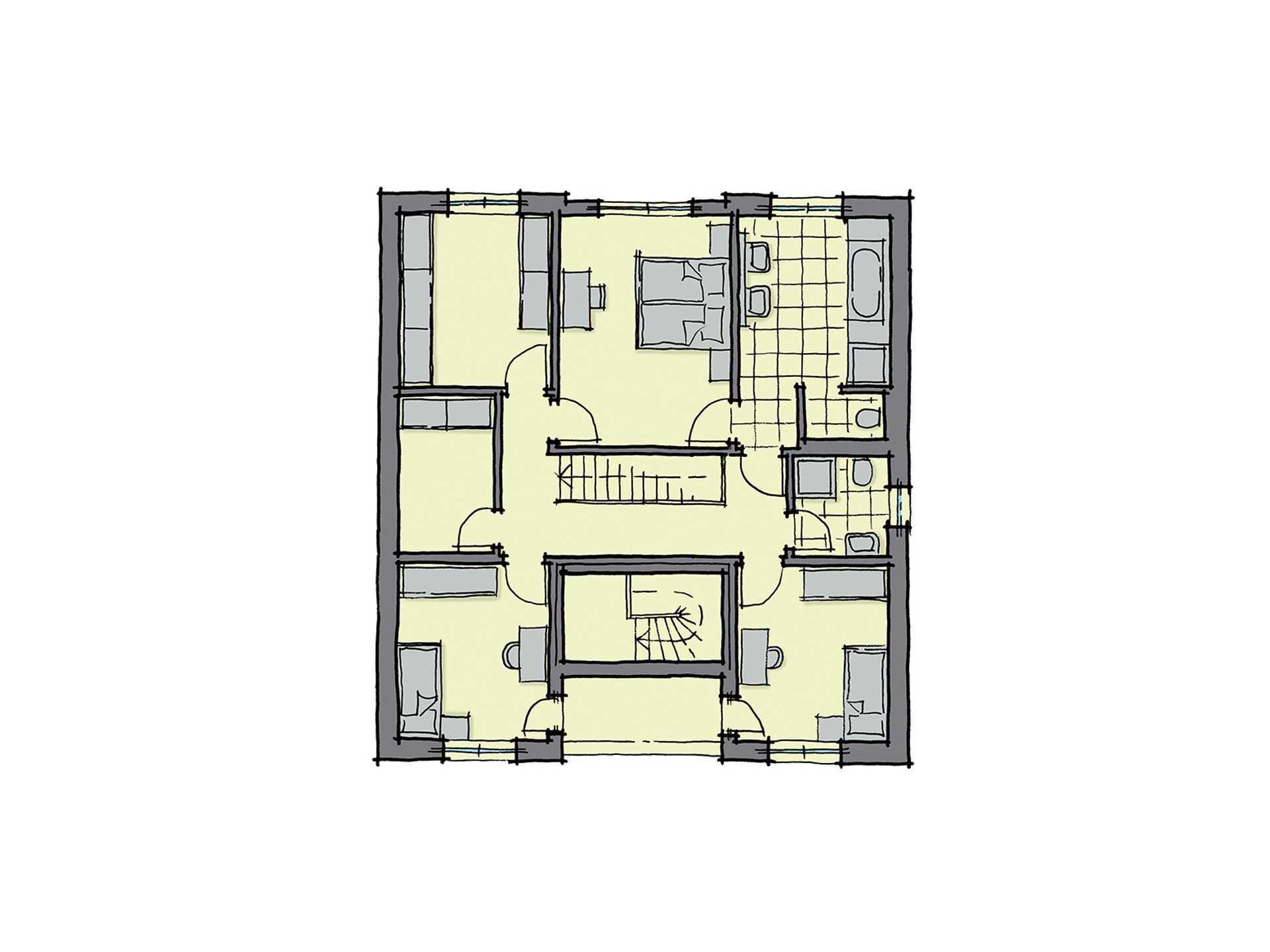 Haus barcelona mit einliegerwohnung gussek haus for Muster grundrisse haus
