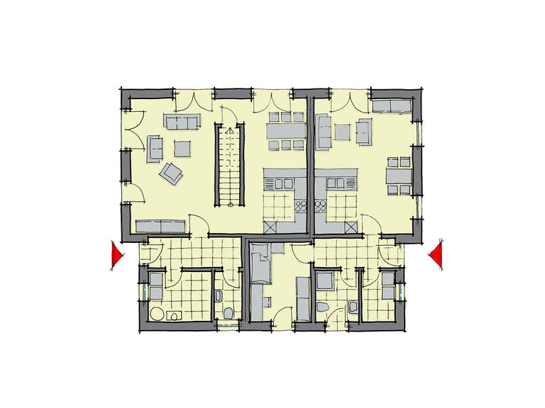 GUSSEK-HAUS - Pultdachhaus Genf Grundriss EG