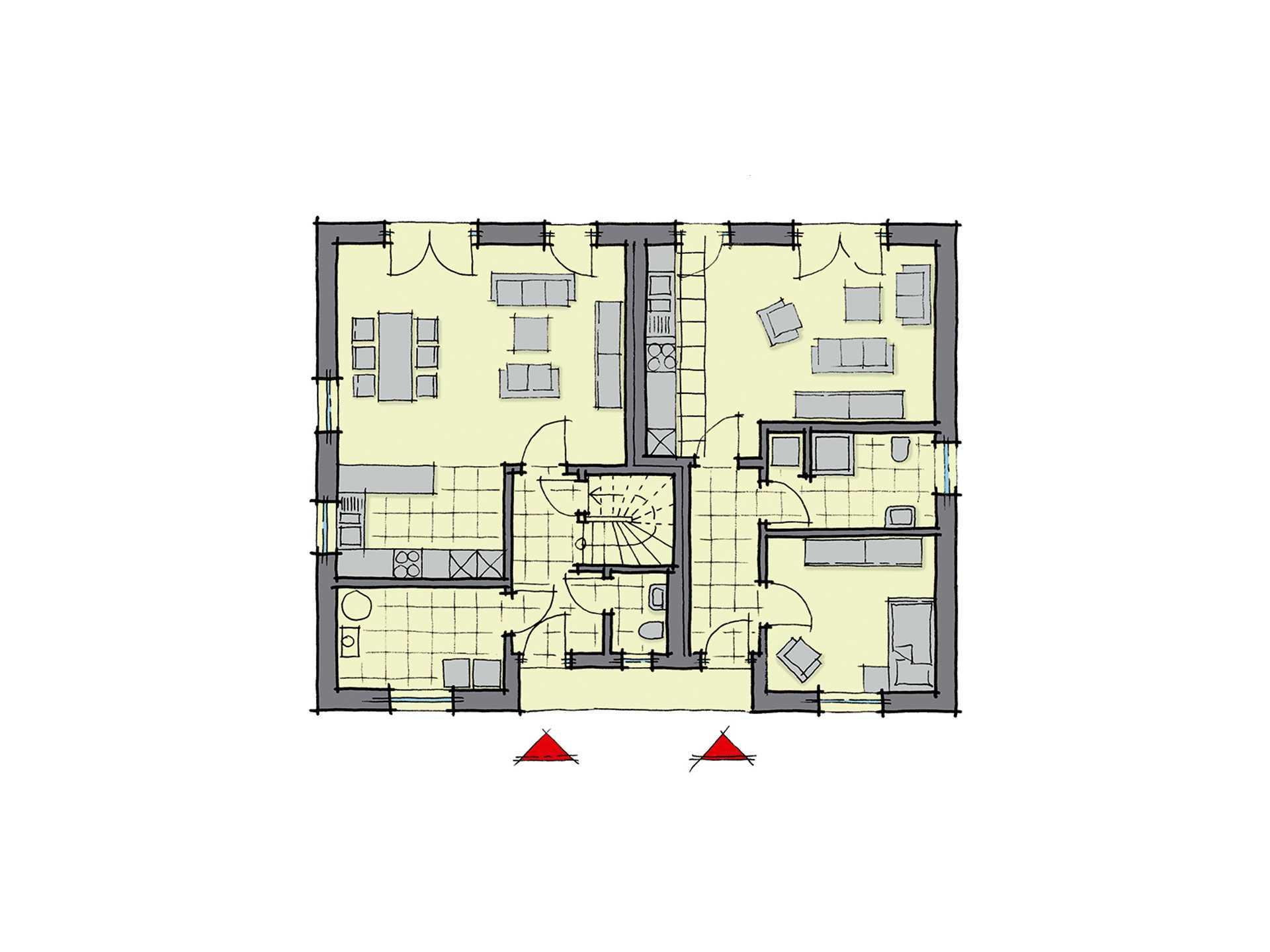 Einfamilienhaus lugano mit einliegerwohnung gussek haus for Muster grundrisse haus