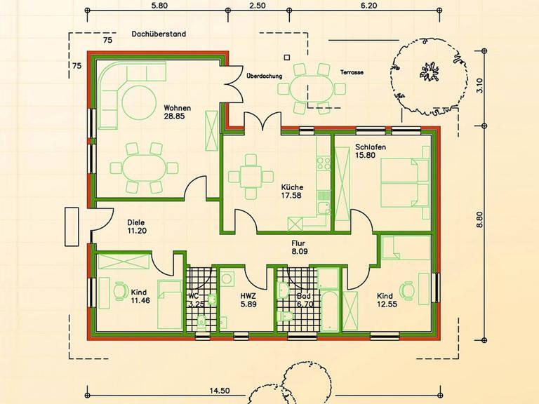 Haus SF 145 Grundriss Erdgeschoss