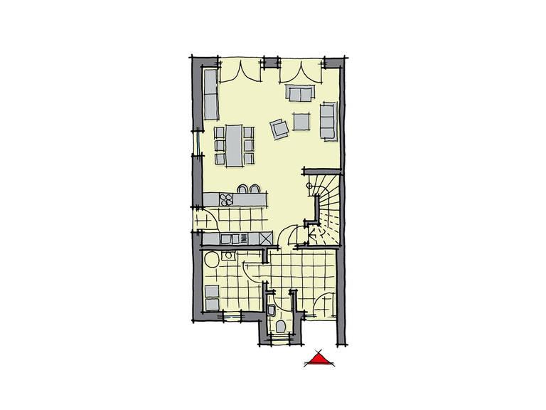 GUSSEK-HAUS - Doppelhaus Malaga Grundriss EG