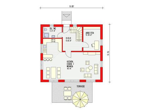 Dörr Haus - Einfamilienhaus Ambiente 135 Grundriss EG