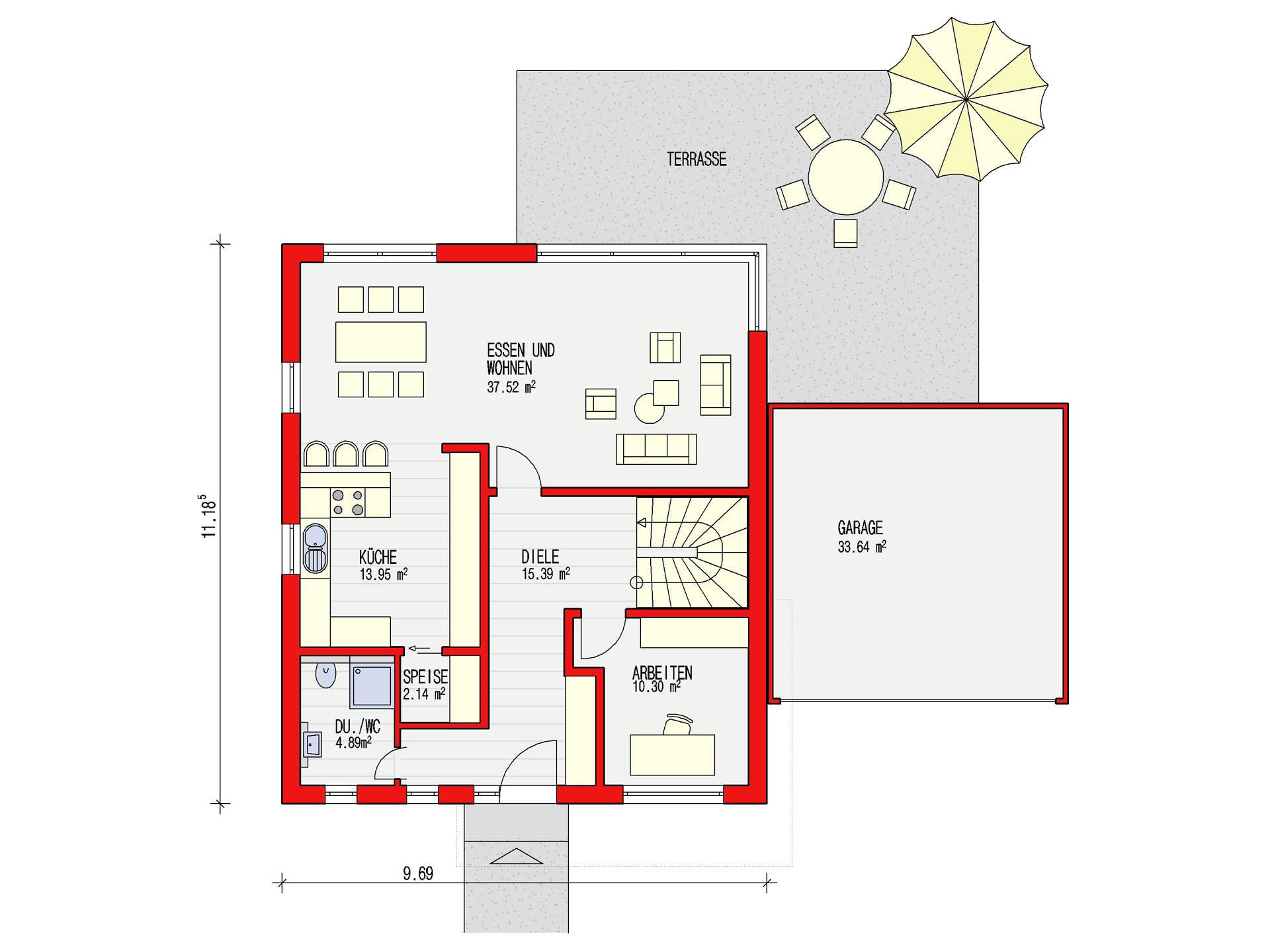 Dörr Haus - Einfamilienhaus Ambiente 170 Grundriss EG