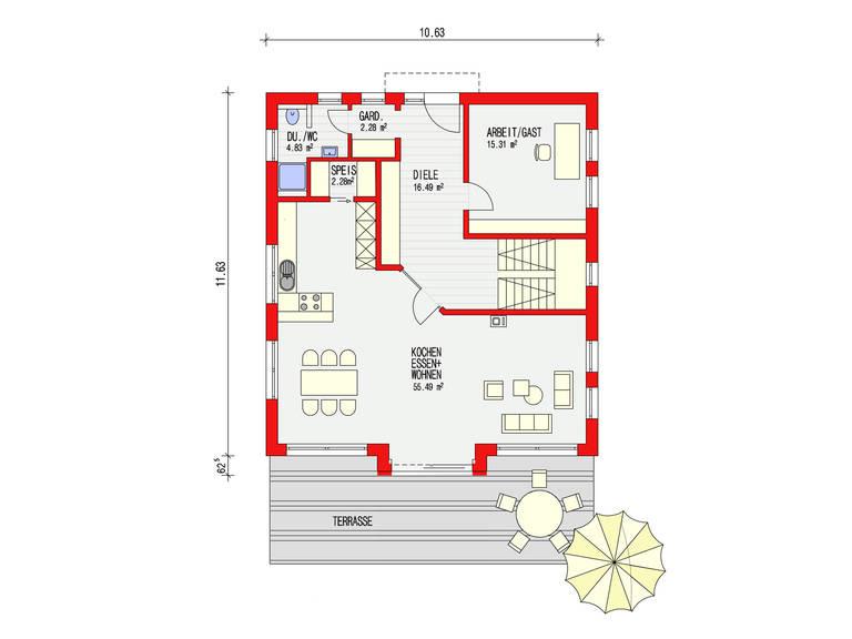 Dörr Haus - Einfamilienhaus Ambiente 186 Grundriss EG