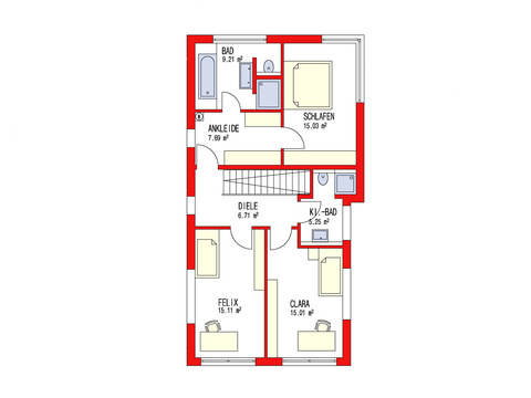 Dörr Haus - Einfamilienhaus Kubus 170 Grundriss DG