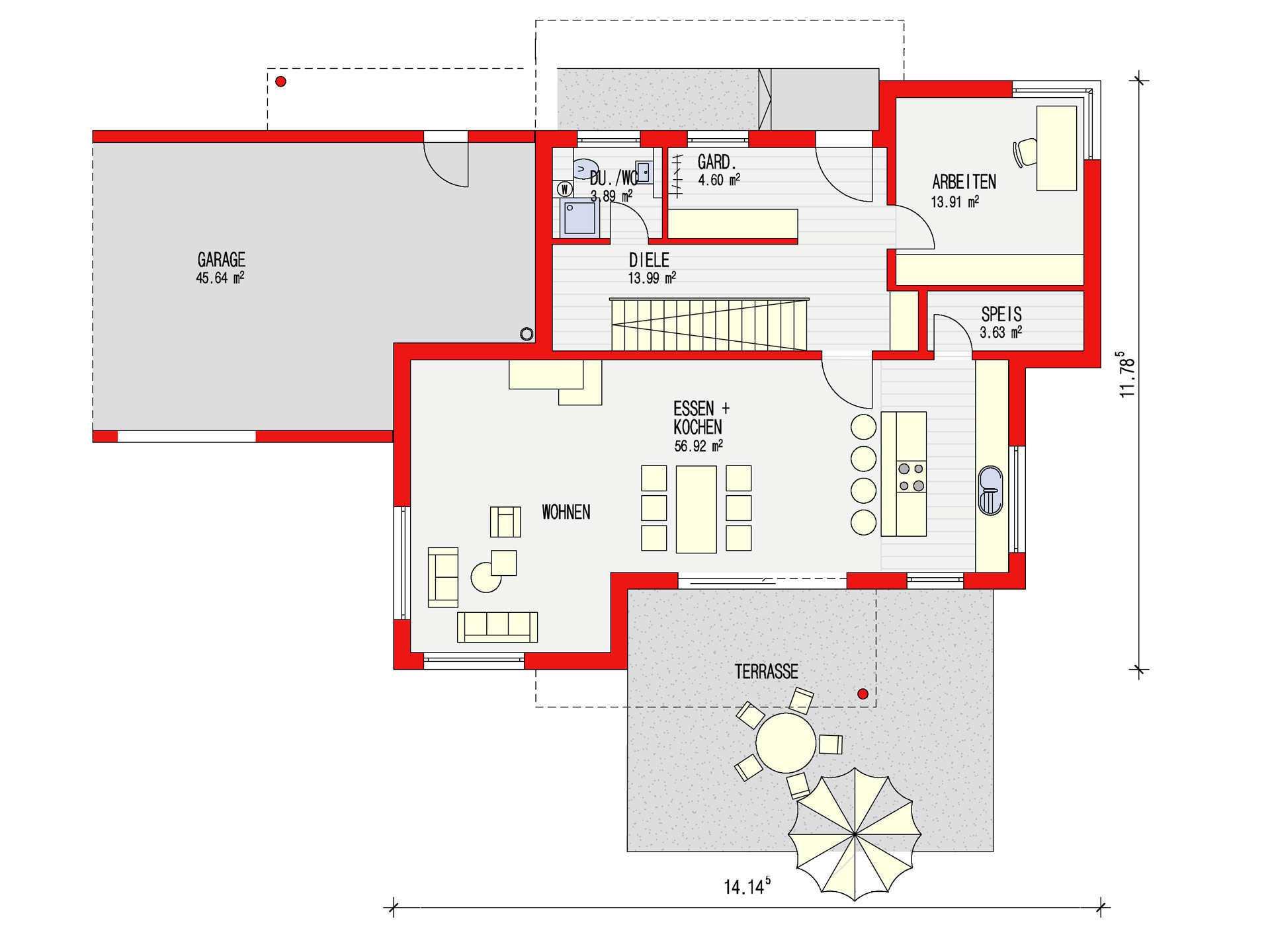 Dörr Haus - Einfamilienhaus Kubus 170 Grundriss EG