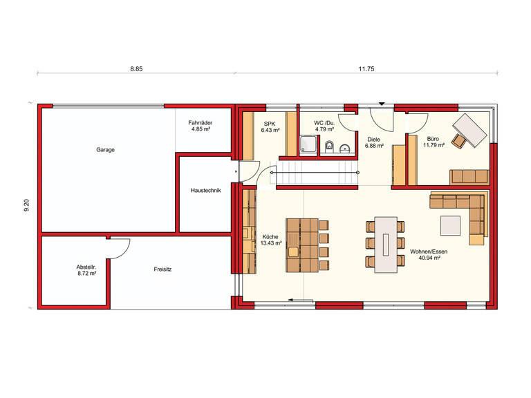 Dörr Haus - Einfamilienhaus Kubus 175 Grundriss EG