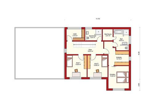 Dörr Haus - Einfamilienhaus Kubus 175 Grundriss OG