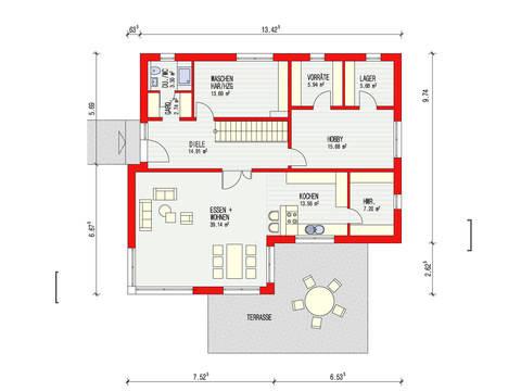 Dörr Haus - Einfamilienhaus Kubus 223 Grundriss EG