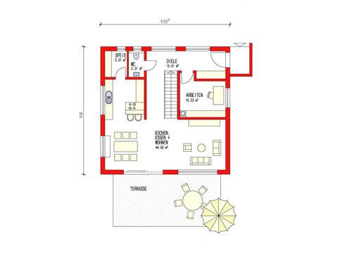 Dörr Haus - Pultdachhaus 150 Grundriss EG