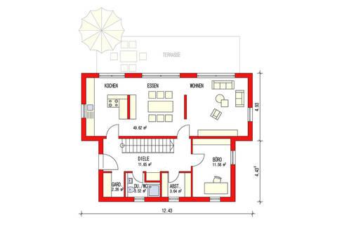 Dörr Haus - Pultdachhaus 164 Grundriss EG